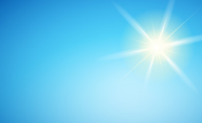Blue sky with radiant sun - Background