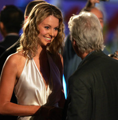 MISS UNIVERSE JENNIFER HAWKINS SMILES WHILE TALKING TO ACTOR RICHARD GERE BEFORE OPENING ...
