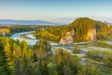 Pieniny mountains. Beautiful river landscape