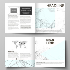 Business templates for square design bi fold brochure, flyer, report. Leaflet cover, vector layout. Chemistry pattern, connecting lines and dots, molecule structure on white, geometric background.