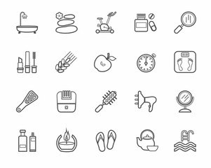 Beauty and health, icon, line, monochrome, vector. Care for body and face. Dark gray contour icons on white background. Flat, vector clip art.