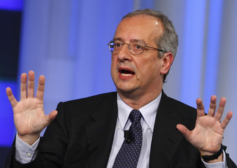 """Rome's Mayor Veltroni gestures during taping of the """"Porta a Porta"""" political talk show in Rome"""