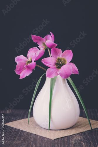 kleine tulpen in der vase stockfotos und lizenzfreie. Black Bedroom Furniture Sets. Home Design Ideas