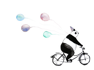 Funny panda bear on bike with balloons. Watercolor sketch image for invitations, greeting card, happy birthday decoration.