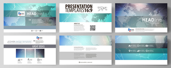 The minimalistic abstract vector illustration of the editable layout of high definition presentation slides design business templates. Molecule structure, connecting lines and dots. Technology concept