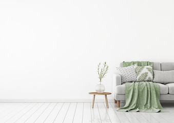 Livingroom interior wall mock up with gray fabric sofa and pillows on white background with free space on left. 3d rendering.
