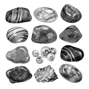 Collection of watercolor stones, illustration on white background.
