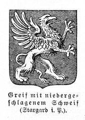 Griffin with lowered tail in coat of arms of Stargard, Poland (from Meyers Lexikon, 1895, 7/911)