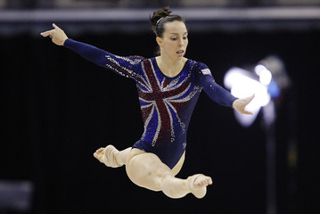 Tweddle of Britain performs her routine during the women's floor final at Gymnastics World Championships at the O2 Arena in London