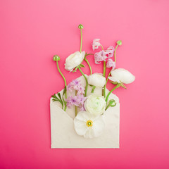 Beautiful flowers, buds and paper envelope on pink background. Flat lay, top view. Flowers background.