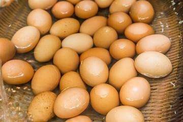 Boiled eggs from hot spring water in Kurokawa onsen, Japan
