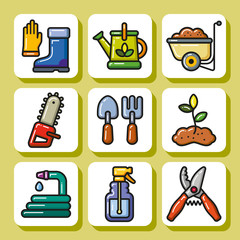 Set of garden and farm tools icons. Vector Isolated flat colorful illustration.