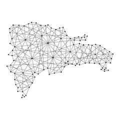Map of Dominican Republic from polygonal black lines and dots of vector illustration