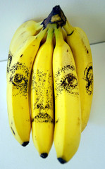 Brazilian artist Tonico Lemos Auad's untitled drawings on bananas are seen on show at London's Insti..