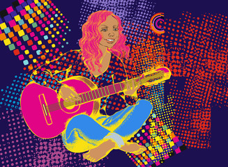 Girl with guitar. Vector illustration