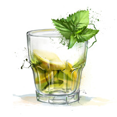 Glass transparent glass of lemonade, and a sprig of mint isolated on white background