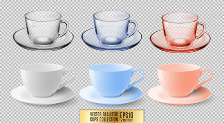 A set of glass and ceramic tea cups. Transparent multicolored glass mugs. High detailed vector illustration of colorful cups isolated on white background