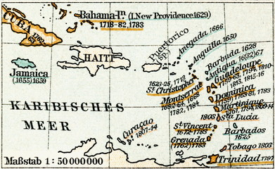 British Empire - British West Indies (from Meyers Lexikon, 1895, 7/1028/1029)