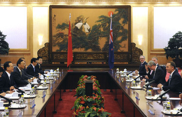 New Zealand's PM Key and Chinese Premier Wen are pictured during their meeting at the Great Hall of the People in Beijing