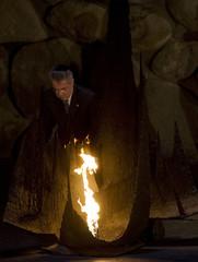 Austria's President Fischer rekindles the eternal flame at the Yad Vashem Holocaust Memorial in Jerusalem