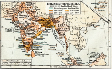 British Empire - Indian subcontinent and Farther India (from Meyers Lexikon, 1895, 7/1028/1029)