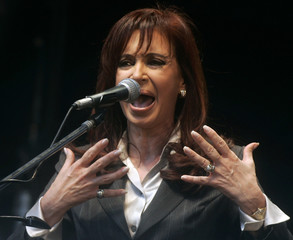 Argentina's President Fernandez de Kirchner speaks during a rally in Buenos Aires