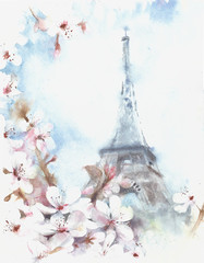 Paris Eiffel tower spring blossom tree apple flowers watercolor illustration greeting card