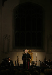 The Archbishop of Canterbury Williams speaks during a seminar in Cambridge