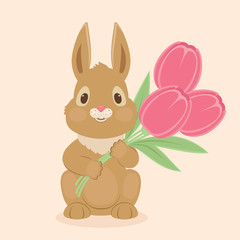 Bunny/rabbit with tulips flowers