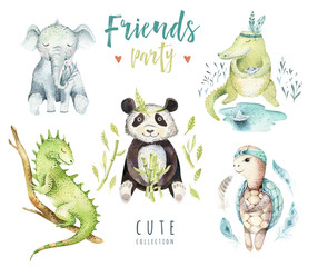 Baby animals nursery isolated illustration for children. Watercolor boho tropical drawing, child punda, crocodile, tropic elephant, iguana and turtle.