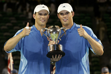 Bob Bryan and brother Mike of US pose with trophy after winning men's doubles final at Australian Open Melbourne
