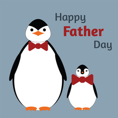 Greeting card for father's Day. Papa penguin and son penguin