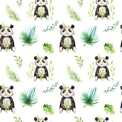 Baby animals nursery isolated seamless pattern. Watercolor boho tropical drawing, child tropical drawing cute panda and palm tree, tropic green texture illustration