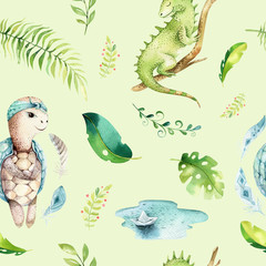 Baby animals nursery isolated seamless pattern. Watercolor boho tropical fabric drawing, child tropical drawing cute iguana, turtle and palm tree, alligator tropic green