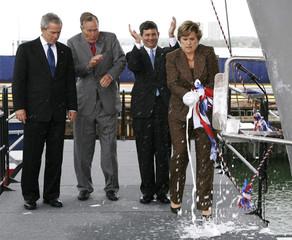 Doro Bush Koch christens the USS George H.W. Bush aircraft carrier in Virginia