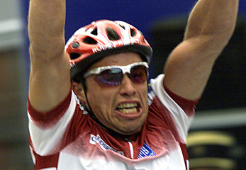 ROMANS VAINSTEINS OF LATVIA CELEBRATES AS HE WINS THE MEN ROAD RACEL CYCLING WORLD CHAMPIONSHIP.