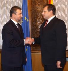 MACEDONIAN PRESIDENT TRAJKOVSKI AND PRIME MINISTER CRVENKOVSKI FILE PHOTO.