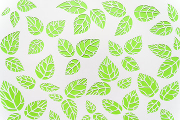 background leaves. leaves cut from paper