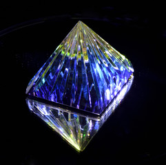 Pyramid of colored glass