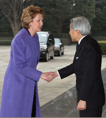 Ireland's President McAleese shakes hands with Japan's Emperor Akihito at the Imperial Palace in Tokyo.