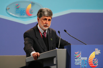 Brazilian Foreign Minister Celso Amorim makes a statement during a conference of the sixth WTO Ministerial Conferences at Hong Kong