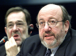 BELGIAN FOREIGN MINISTER LOUIS MICHEL AND EU FOREIGN POLICY CHIEFJAVIER SOLANA IN BRUSSELS.