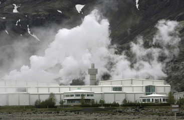 View of Nestaveni geothermal power station
