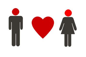 Mann, Herz und Frau - rot und schwarz Farben, weißer Hintergrund