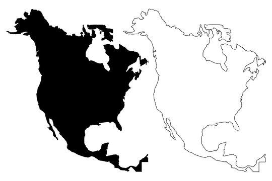 North America map vector illustration, scribble sketch North America