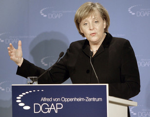German chancellor Angela Merkel speaks during an event of the 'Alfred Oppenheim Center' at the 'German Society for Foreign Politics' in Berlin