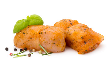Chiken meat rolls isolated on the white background.