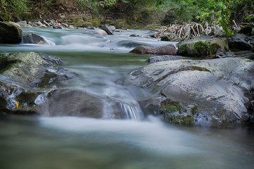 Streams and stones in a river