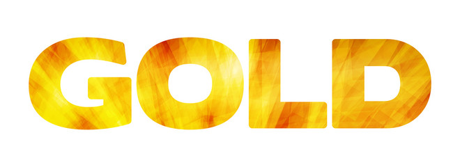 Golden word 'Gold' on a white background. Vector graphic letters