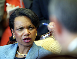 U.S. NATIONAL SECURITY ADVISER RICE TALKS WITH SOUTH KOREA'S FOREIGN MINISTER BAN IN SEOUL.